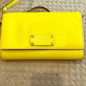 Kate spade New York leather wallet bag neon yellow